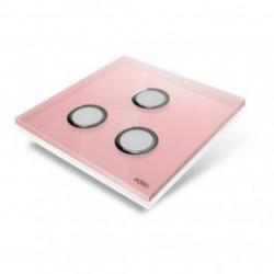EDISIO - Plaque de recouvrement Diamond - Rose 3 touches