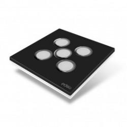 EDISIO - Interrupteur Elegance noir 5 Touches Base blanche