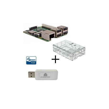 Raspberry PI 3 Modello B - Con custodia e controller Z-wave Plus Everspring SA413