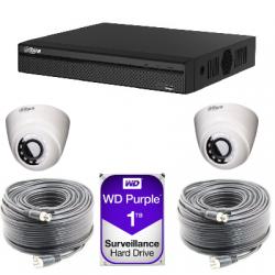 Kit vidéosurveillance Dahua AHD1080P 2 caméras dômes